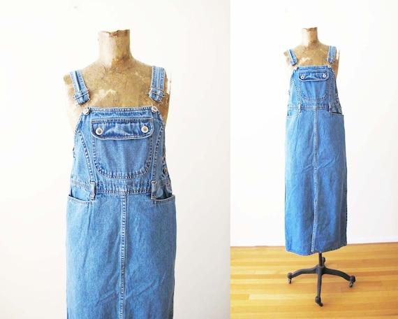 Vintage 90s Overall Dress S - 90s Denim Overall Ma