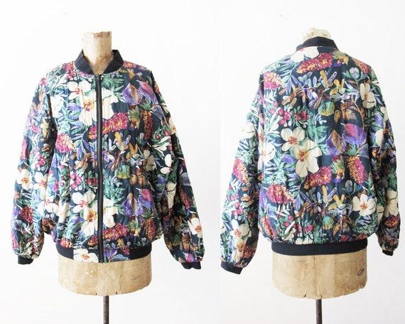Vintage Silk Bomber Jacket - Floral Silk Jacket -