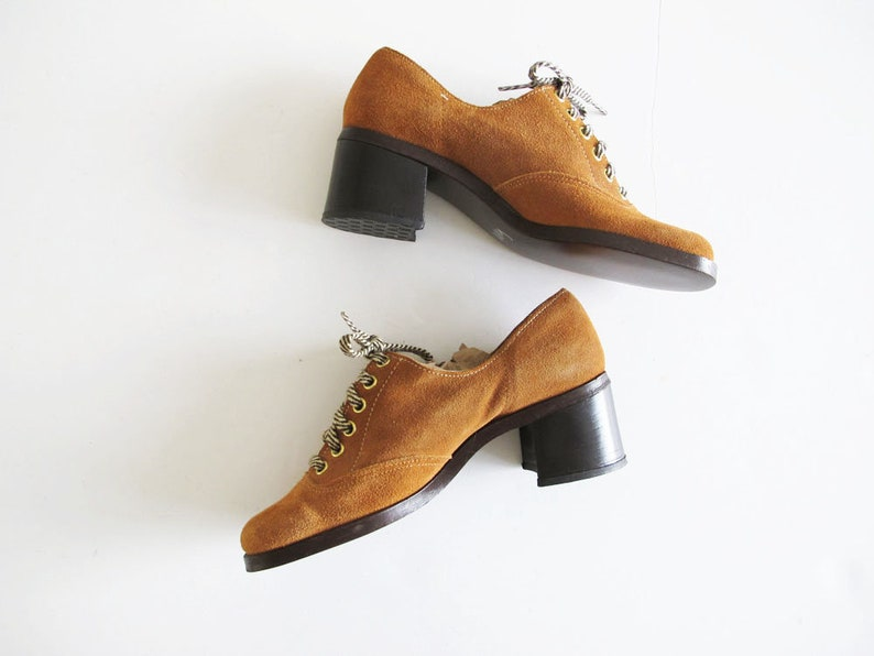 Brown Suede Lace Up Oxfords Vintage 60s 70s Womens Platform Shoes 60s Shoes 6.5 Mod Platform Shoes 7 AA Narrow Sears Shoe Place