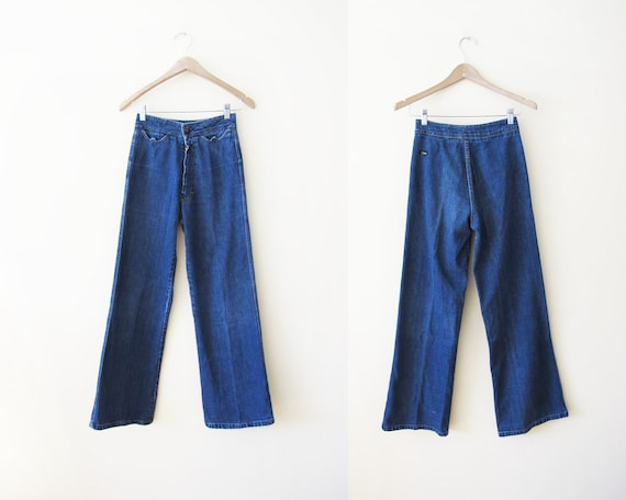 Vintage 70s High Waisted Jeans XS 24 waist - Wide… - image 1