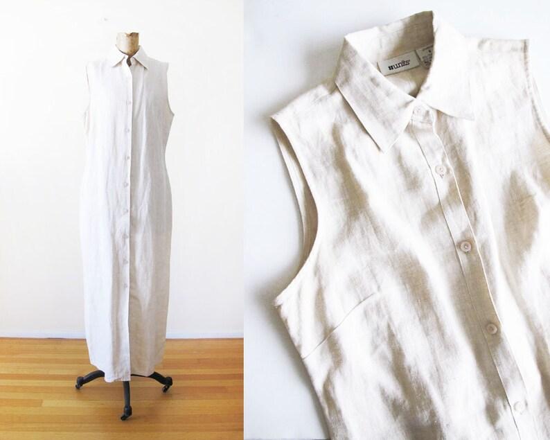 3b9b432aaf Vintage 90s Dress Off White Linen Maxi Dress Button Front