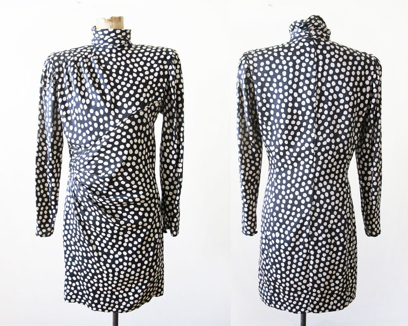 Emanuel Ungaro Silk Ungaro Mini Dress Shoulder Pad Dress Black White Dot Dress Vintage Ungaro Dress 80s Ungaro Parallele Paris