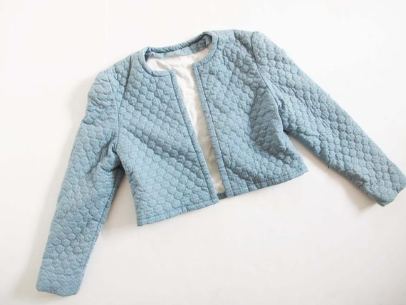 Vintage 80s Quilted Jacket S - Blue Quilted Croppe