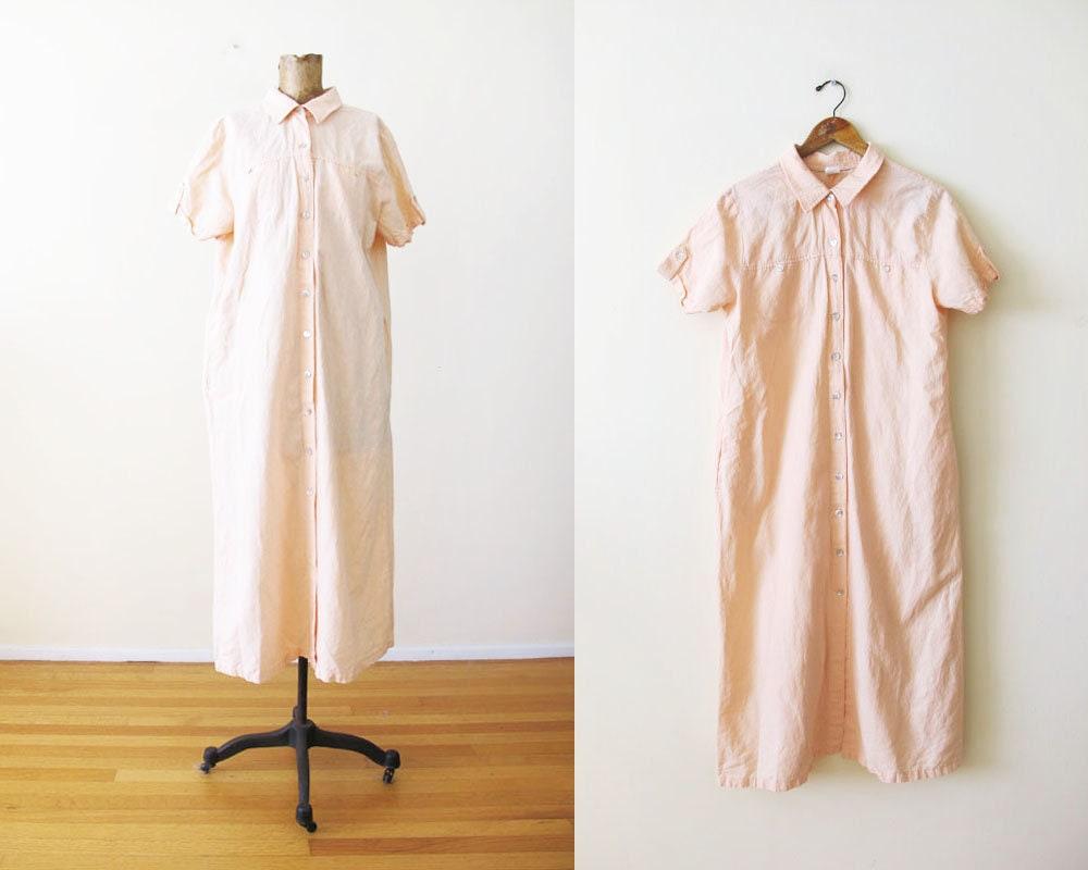 44873649a2 Vintage Linen Dress 90s Linen Maxi Dress Pale Pink Linen