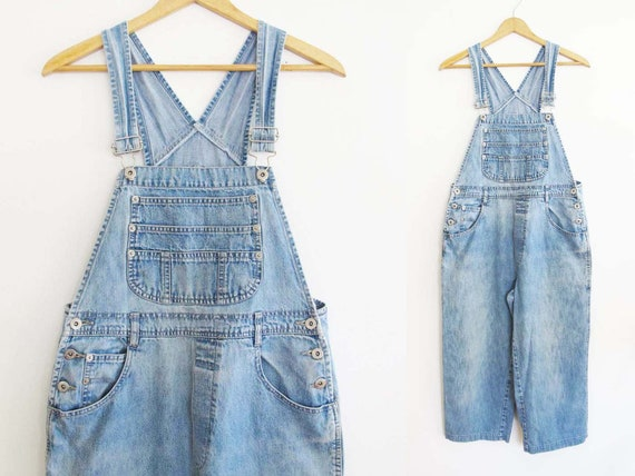 Vintage 90s Overalls S M SHORT - 90s Women Denim O
