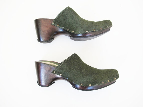 90s Clogs 8 - 90s Slip On Mules Heels - Green Pon… - image 7