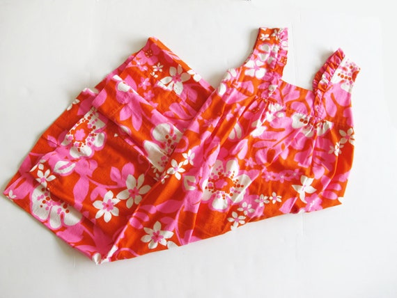 Vintage Barkcloth Dress - 60s Hawaiian Barkcloth … - image 3