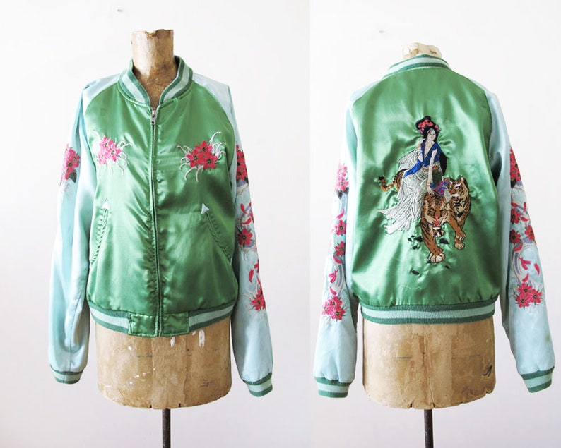 ddcd6b7aa Vintage Sukajan Jacket S M - 80s Rayon Satin Japan Bomber Jacket -  Embroidered Japanese Zip Up Jacket - Blue Green Sukajan - Geisha Tiger