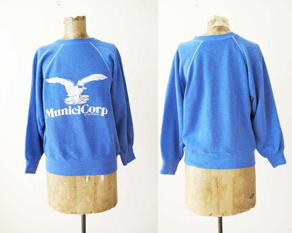 Vintage 80s Raglan Sweatshirt S  - Blue Pullover S