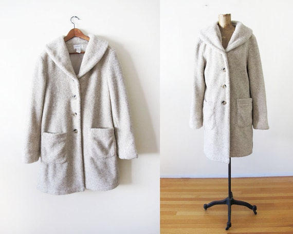 Vintage 90s Fleece Coat M - Womens Long Fleece Coa