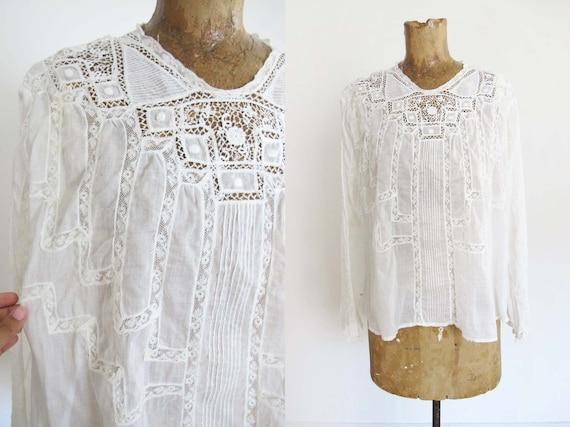 Vintage Edwardian Antique Lace Blouse XS S - Intr… - image 1