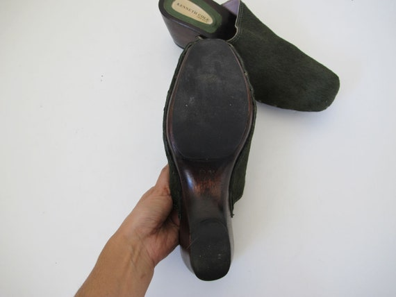 90s Clogs 8 - 90s Slip On Mules Heels - Green Pon… - image 6
