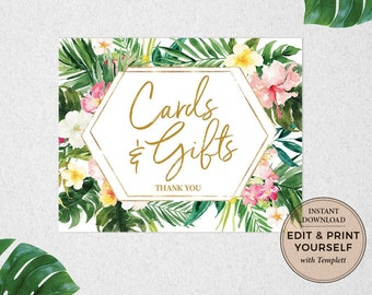 Cards and Gifts Sign, Tropical Cards and Gifts, Cards and Gifts, Baby Shower Gifts Sign, Gifts, Tropical Sign, Templett, #PBB98