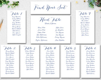 wedding seating chart template instant download editable etsy