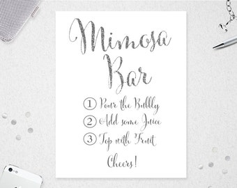 graphic relating to Mimosa Bar Sign Printable Free named Mimosa Bar Indication // Fast Down load // 8x10 // 11x14 // Etsy