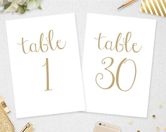 Table Numbers 1-30 // INSTANT DOWNLOAD // 5x7 // 4x6 // Printable // Gold Table Numbers // Wedding// Bridal Shower