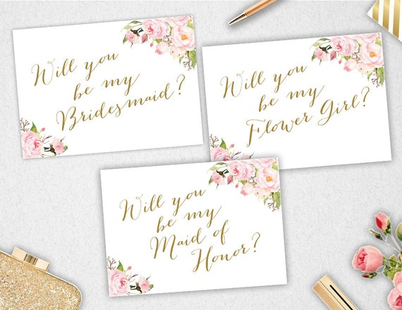 graphic relating to Will You Be My Bridesmaid Printable identify Will yourself be my Bridesmaid // Maid of Honor // Flower Woman