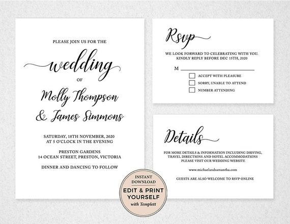 Templett Destination WD014 DIY wedding templates Calligraphy wedding Wedding Invitation Set  Bundle INSTANT DOWNLOAD template download