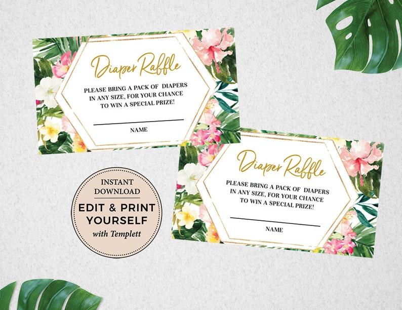 Diaper Raffle Tropical Diaper Raffle Tropical Baby Shower image 1