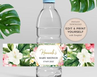 Editable Tropical Baby Shower Bottle Label, Baby Shower Bottle Label, Instant Download, Tropical Baby Shower, Teal, Templett, #PBB98