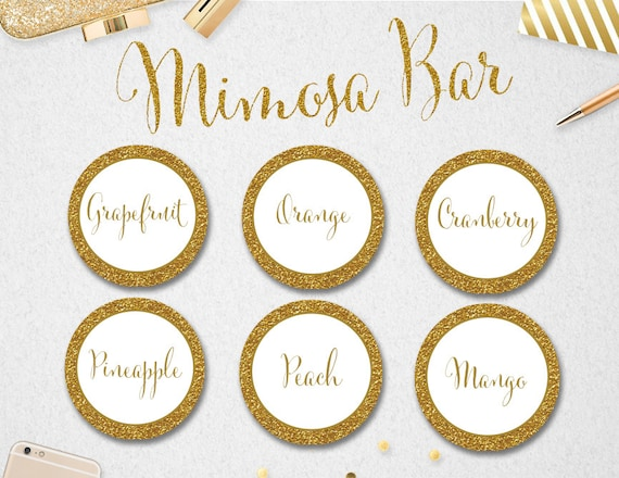graphic about Free Printable Mimosa Bar Sign called Mimosa Bar Juice Labels Signal, Instantaneous Down load, Bridal