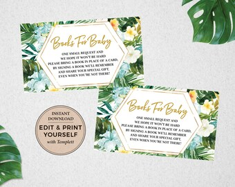 Tropical Books For Baby, Books For Baby, Baby Shower Games, Instant Download, Tropical Baby Shower, Teal, Templett, #PBB98