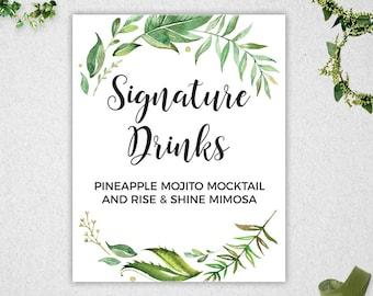 Signature Drinks Sign // INSTANT DOWNLOAD // EDITABLE // 8x10 // Greenery // Wedding // Bridal Shower // Printable  // #PBP86