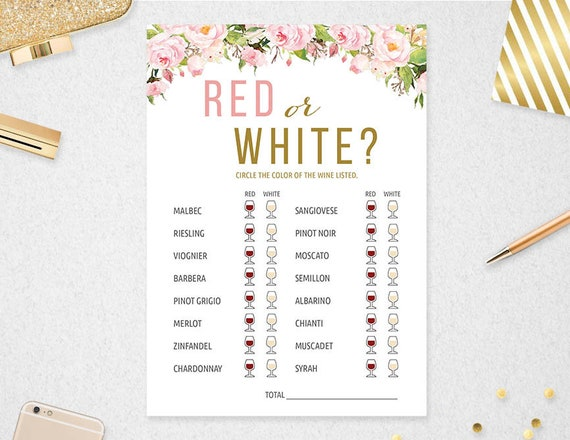 photo regarding Printable Wine Trivia Questions and Answers named Pink or White Wine Activity Quiz // Prompt Obtain // Bridal