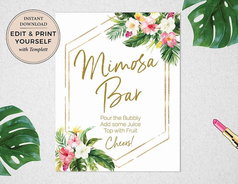 Tropical Mimosa Bar Sign Mimosa Bar Mimosa Bar Sign image 1