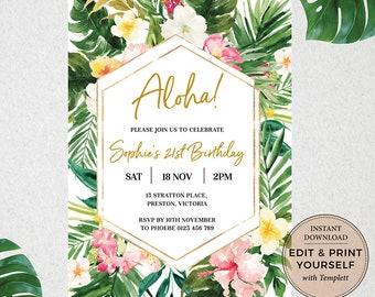 Tropical Invitation, Birthday Invitation, Editable Invitation, Tropical, Aloha Invitation, Instant Download, Templett, #PBB98