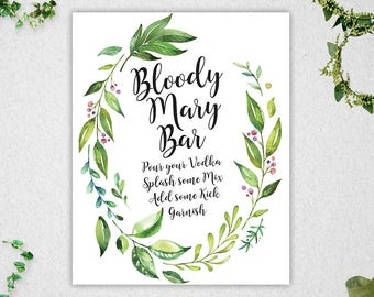 Greenery Bloody Mary Bar Sign // INSTANT DOWNLOAD // 8x10 // Bridal Shower // Wedding // Leafy Watercolor // Printable // #PBP86