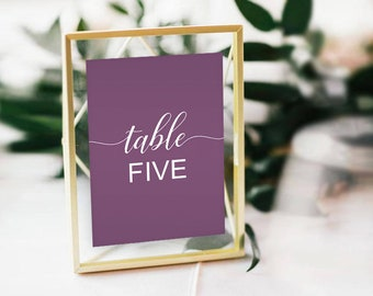 Editable Table Numbers, INSTANT DOWNLOAD, 5x7, Mauve, Wedding, Bridal Shower