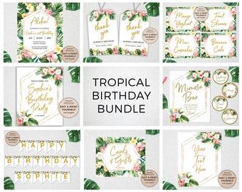 Tropical Birthday Bundle, Tropical Birthday, Editable Tropical Birthday Templates, Tropical Birthday, INSTANT DOWNLOAD, Templett, #PBB98