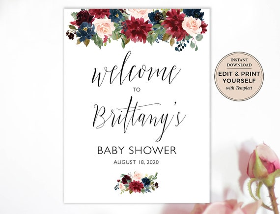 Baby Shower Welcome Poster Printable Baby Shower Welcome Sign B101 INSTANT DOWNLOAD Template Editable Baby Shower Welcome Sign