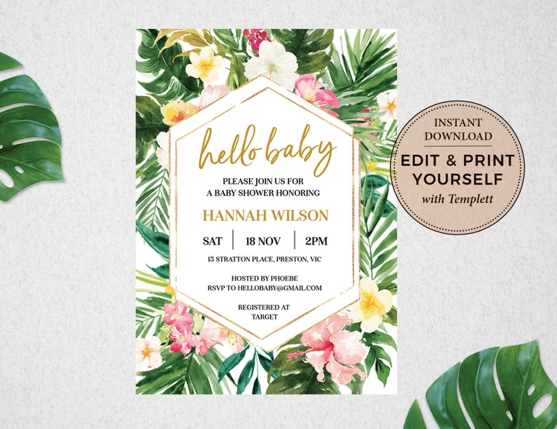 Tropical Baby Shower Invitation Tropical Invitation Baby image 1