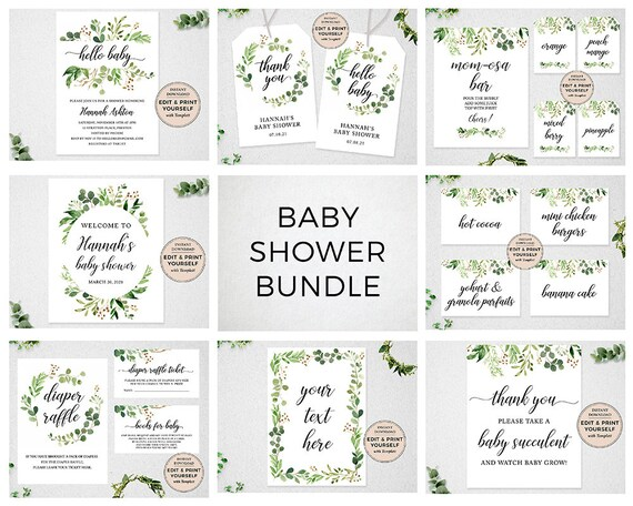 Gender Neutral Baby Shower Signs Editable Baby Shower Templates #PBP86 INSTANT DOWNLOAD Templett Baby Shower Bundle