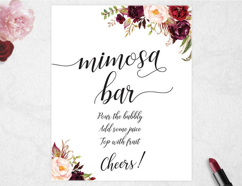 image regarding Mimosa Bar Sign Printable identified as Mimosa Bar Indicator // Printable // Fast Obtain // 8x10 // Marriage // Bridal Shower // Marsala // Burgundy // #PBP97