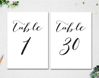 Printable Table Numbers 1-30 // INSTANT DOWNLOAD // 5x7 // Wedding // Bridal Shower // DIY // printable