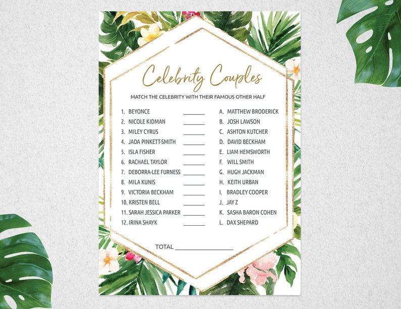 Celebrity Couples Game, Celebrity Couples, Bridal Shower Game, Tropical  Bridal Shower Game, Tropical Game, Hen's Night Game, #PBB98