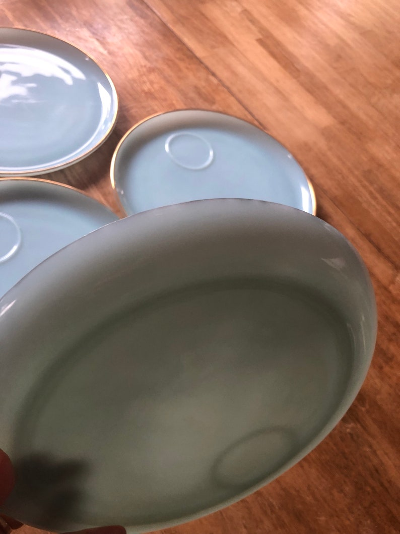 Vintage Fire king Turquoise blue snack plates Set of 4