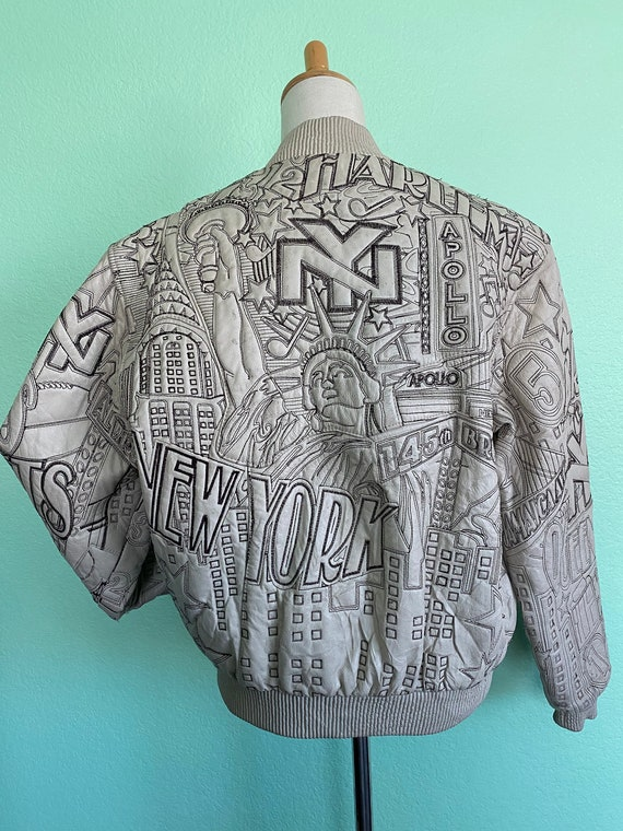 Vintage embroidered leather jacket/NY style