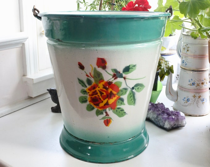 Featured listing image: Antique Enamelware Garden Bucket, Rare, c. 1920, Roses, Signed, Mother's Day Gift, Made in Hungary, Garden Gift, Housewarming Gift