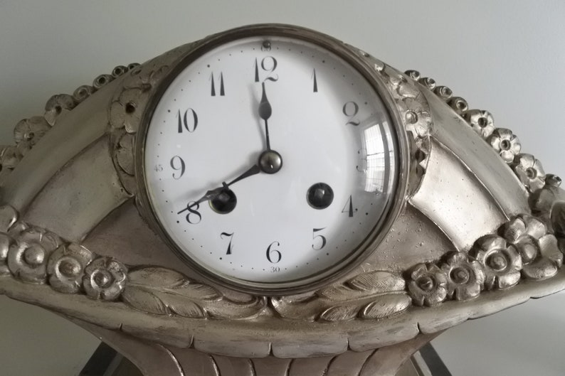 Horloge antique Français Art Déco Mantle, vers 1920