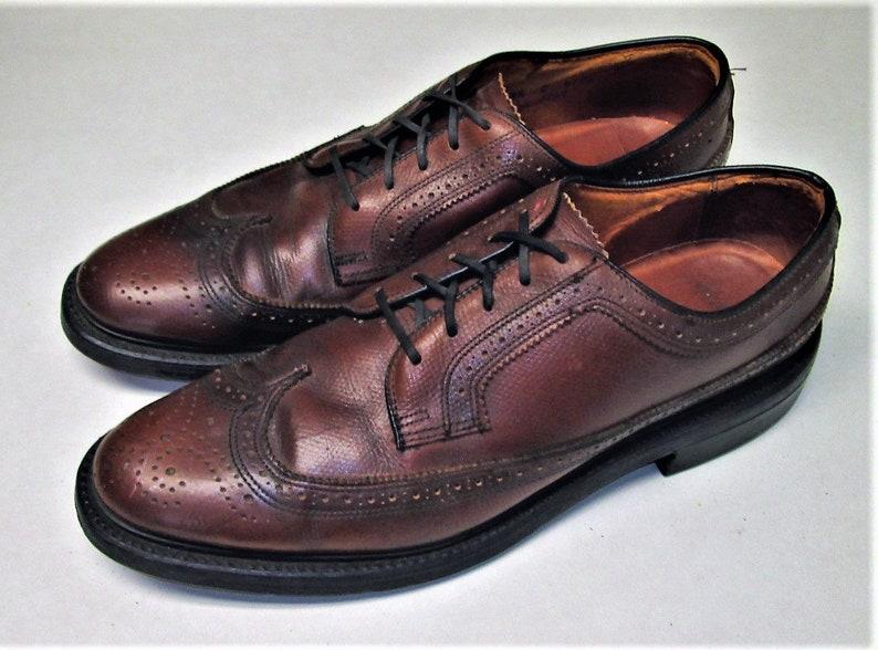 025413c78c3d Vintage JC PENNEY Mens Size 8.5 C Tan Wingtip Oxford Dress