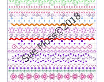 Beautiful Borders   - 14 Machine Embroidered Borders for 6x10 inch/160x260mm Hoop