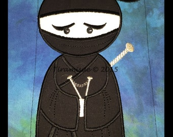Nearly Ninja Applique Embroidery designs 5x7in(130x180mm) Machine Embroidery Design