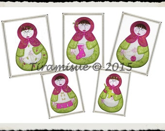 Broomhilda the Grumpy Babushka Applique Set for the 6x10in (160 x 260mm) hoop Machine Embroidery Design
