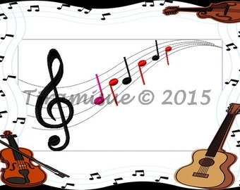 Music notes  for the  8x14inch/200 x 360mm Embroidery MachineHoop