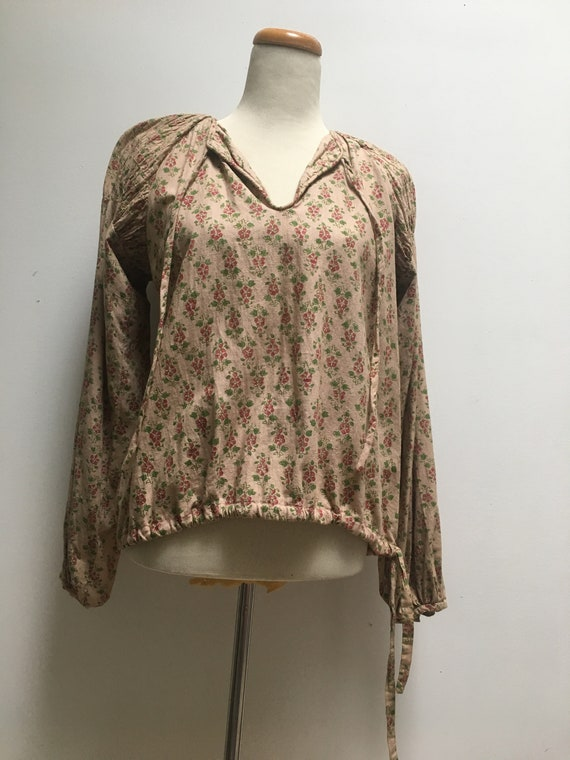 70s India Imports Vintage Poet Blouse in Beige Ca… - image 1