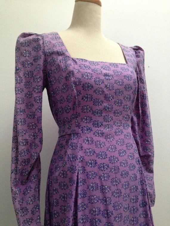 Vintage India cotton dress / 1970s lavender block